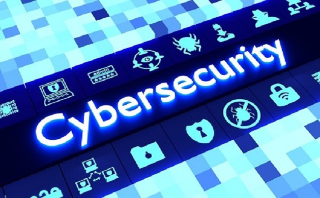 Abstract cybersecurity concept in blue with icons