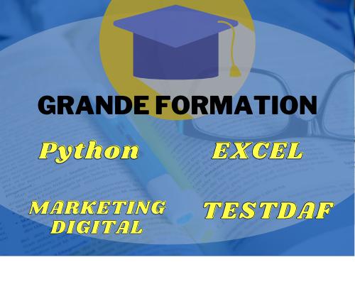 Formation excel, python, marketing digital, testdaf